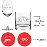 YaYa Cafe Wedding Anniversary Gifts For Couple Whiskey Wine Glass Combo - Engraved All You Need Is Love Set Of 4 With Coasters|Husband Wife, Girlfriend Boyfriend