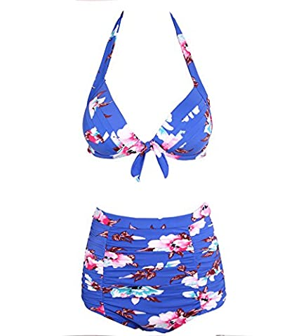 Surenow Frauen Vintage Retro 50er Hohe Taille Halter Blumen Badebekleidung Bikini Badeanzug Bademode Swimdresses Mehrfarbig (Retro Frauen-badeanzug)