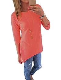 Fortan Las mujeres jersey suelto Tops Camiseta Tres cuartos de la blusa