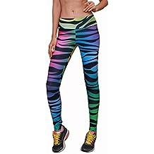 zycShang Femmes Couleur Impression Pantalon de Sport Leggings Skinny Taille Haute Élasticité Slim Fit Pantalon Sweatpants Sportwear pour Fitness Jogging Running Yoga Entraînement