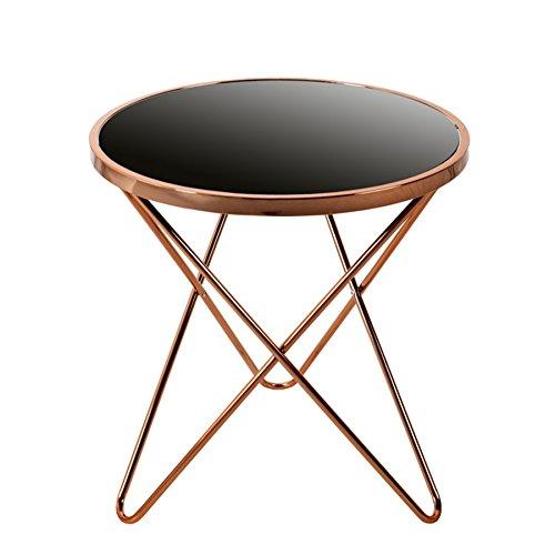 Glas Metall-beistelltisch (Invicta Interior Stylischer Design Beistelltisch Orbit 55cm Kupfer Schwarz Tisch Wohnzimmertisch Glastisch)