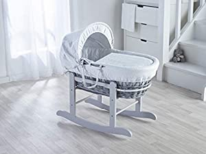 Grey Wicker/White Waffle Padded Moses Basket & Deluxe Grey Rocking Stand