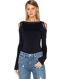 Sexy Épaules Dénudées Épaule Dénudée Transparente Maille Empiècements en Manches Longues T-shirt Tee Haut Top Noir