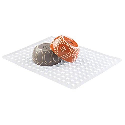iDesign Escurridor de platos y vasos, rejilla de plástico PVC de tamaño grande, alfombrilla escurreplatos para proteger el fregadero de la cocina, transparente