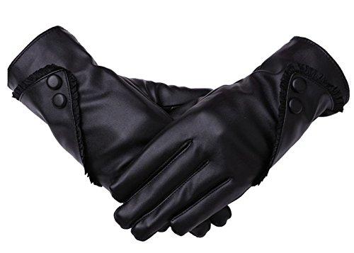 Femmes De Nouveaux Gants En Cuir Gants Tactiles Black