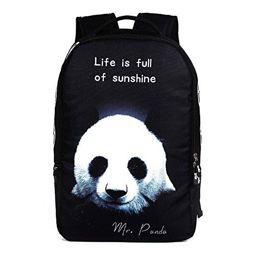 Tofern Damen/Mädchen Herren/Jungen Rucksack Schulrucksäcke Schulranzen Skelett 22L, Panda