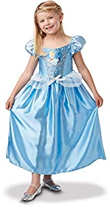 Princesas Disney - Disfraz de Cenicienta con lentejuelas para niña, infantil 3-4 años (Rubie