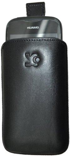 Suncase Original Echt Ledertasche für Huawei Ascend Y201 Pro (Hülle mit Rückzugsfunktion) in glatt-schwarz