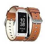 Wj Reloj De Pulsera Inteligente con Bluetooth, Podómetro De Calorías, Sensor De Ritmo Cardíaco Fitness Tracker, Brazalete Sport Smartband para Android iOS, IP67 Impermeable, Marrón,Brown