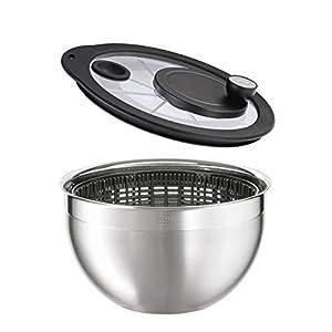 RÖSLE Salatschleuder mit Glasdeckel, Ø 24 cm, Edelstahl 18/10, 2-ton-poliert, Kurbelantrieb, komplett zerlegbar, spülmaschinengeeignet