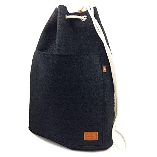 Venetto Sportrucksack Rucksack Sack Turnbeutel Beutel aus Filz für Sport, Fußball, Schule, Wandern, sehr leicht mit Schuhfach backpack unisex (Schwarz)