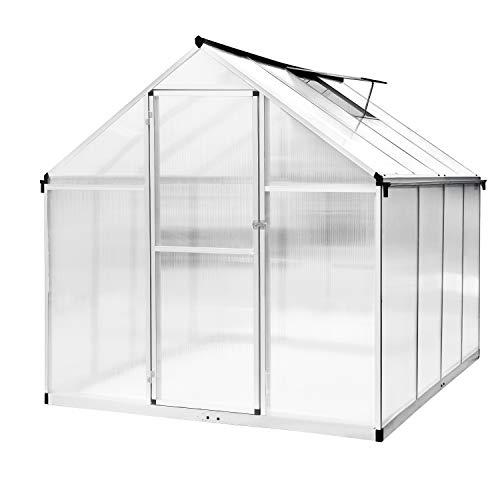 HomeMiYN Aluminium Gewächshaus mit Fundament und Fenster, Gartenhaus Gewächshäuser Tomatenhaus Treibhaus, L242×B190×H195