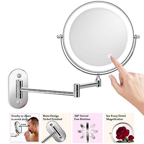 M-TOP Kosmetikspiegel mit Beleuchtung Wandmontage 7fach, Schminkspiegel mit Licht Wandmontage Batterie, Rasierspiegel 360°Schwenkbar Faltbar, Spiegel mit Licht für Spa und Hotel10X
