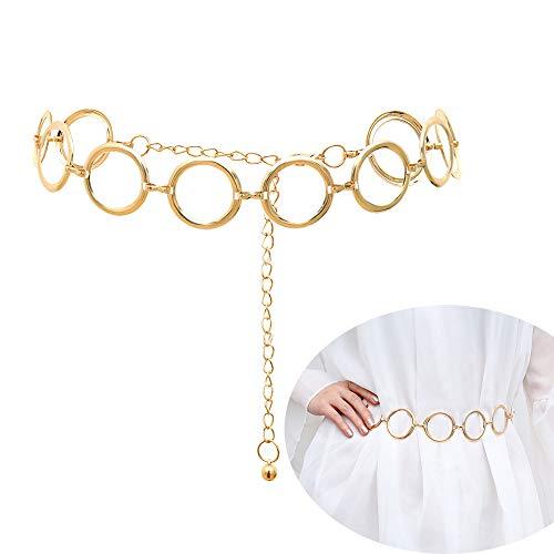Jurxy Körper Bauch Taille Kette Bikini Strand Körperkette Multilayer Bauchgürtel Bauchkette Legierung Taille Kette für Frauen - Gold Ring Schnalle Stil 6