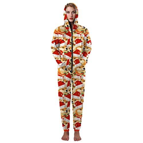 Weihnachten Jumpsuit FORH Damen Hoodies Kostüm Sleepsuit Cute Dog mit Weihnachten Baum muster gedruckte One-Overall winter warm Reißverschluss Einteiler Hausanzug Zuhause Kleider (L/XL, (Cute Kostüme Panda)