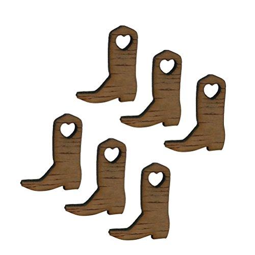 ULTNICE Holz Etiketten Cowboy Stiefel Form hölzerne Anhänger für Hochzeits Party Dekoration 50pcs