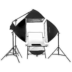 Aufnahmetisch Foto Table Leuchttisch KT-5070 + 4 Dauerlicht Softboxen 50x70cm + 1x Galgenarm mit Verbindungsstück, 3x Lampenstativ, 4x Leuchtmittel 600 Watt (wie 2400 Watt) + 4x Table-Hintergründe + Mini-Table schwarz für Spiegelungen