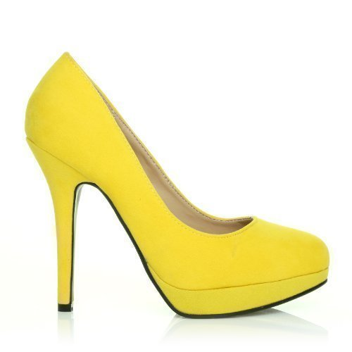 EVE Scarpe da donna con tacco alto stiletto con piattaforma colore giallo finto scamosciato - giallo scamosciato, sintetico, 5 UK / 38 EU