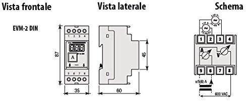AMPERIMETRO DIGITAL Y MODULAR VOLTIMETRO EVM-2DIN INSERCION VOLTIMETRO DE