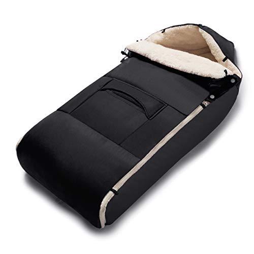 Minetom Fußsack für Kinderwagen Universeller Winterfußsack Wasserdicht Fußsack Anti-Rutschschutz Design mit warmes und weiches Fleece,Fußsack für Sportwagen & Buggy (Schwarz)