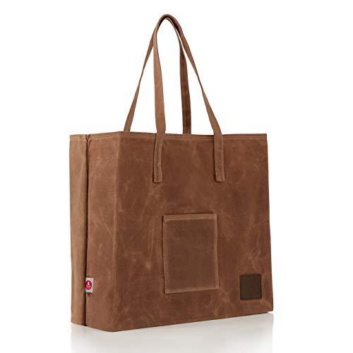 Braun Market Tote (Give Me Fresh No. 1, gewachstes Leinen, wiederverwendbar, Einkaufstasche, strapazierfähig, weich und faltbar, braun, praktische Tasche, stabile Griffe)