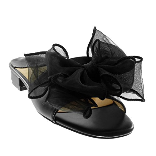 Angkorly Chaussures Mode Sandales Mules Slip-on Femme Nœud Tulle Haut Bloc Talon 4 Cm Noir