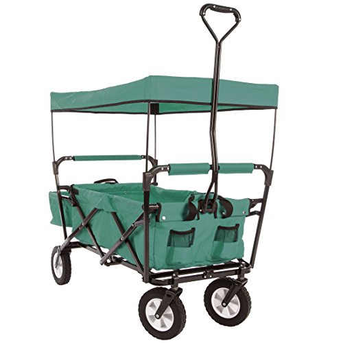Ultrasport faltbarer Wagen, Bollerwagen, Picknickwagen, Handkarre mit Transporthülle und Dach, Grün
