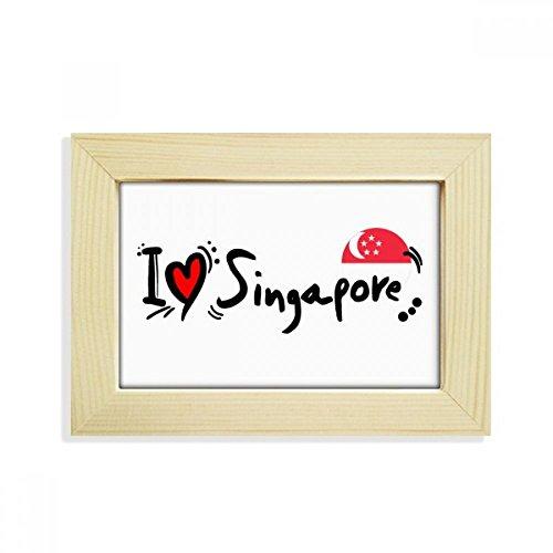 DIYthinker I Love Singapur Wort Flagge Love Herz Illustration Desktop Holz Bilderrahmen Art Malerei 12,7x 17,8cm