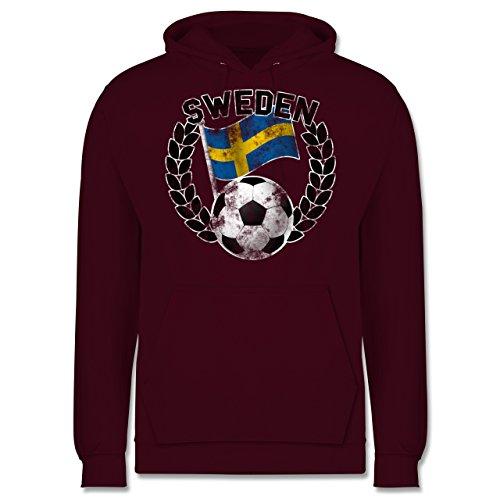 EM 2016 - Frankreich - Sweden Flagge & Fußball Vintage - Männer Premium Kapuzenpullover / Hoodie Burgundrot