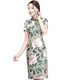 9a2bbb1fe925 Reveryml Donna Abito Breve Qipao Faux Silk Abito Tradizionale Cinese Abito  Orientale Abbigliamento Femminile Cinese Foglia