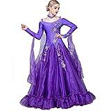 CX Moderner Gesellschaftstanz Turnierkleidung Sling Long Sleeve Großer Swingrock Strass Tango Foxtrot Performance Tanzen Outfit(anpassbar) (Color : Purple, Size : Any Size)