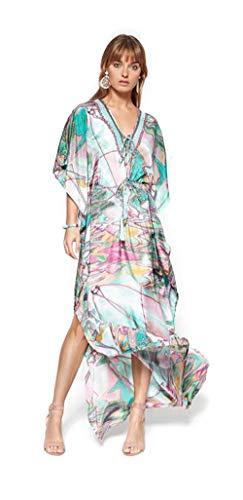 1b1d0b9458 Lola Casademunt Vestido Mujer Largo Fiesta Kaftan Verano Estampado Cuello V  Elegante Moda Playa Tunica Boda