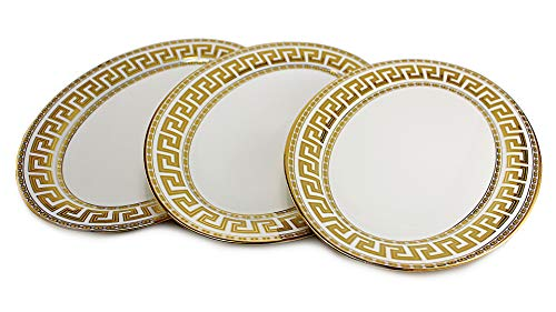 König 3-teiliges Set (Deko-König 3 teiliges Teller Set oval mit Goldener Mäander Verzierung)