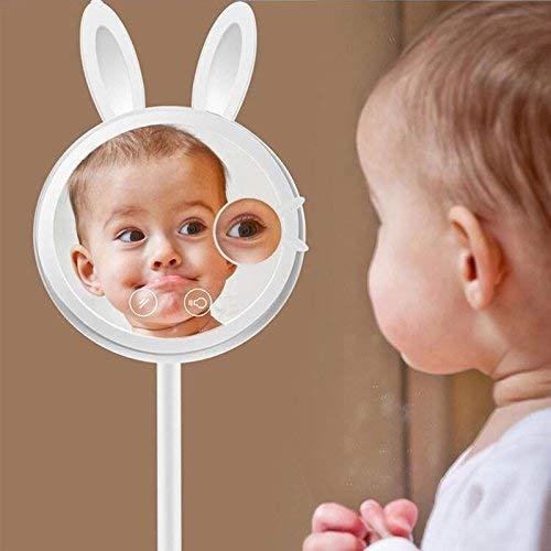 ZNDDB 3-in-1 Kosmetikspiegel Kaninchenförmige Tischlampe und Nachtlicht mit dimmbarem Touchscreen 7-fache Vergrößerung, weiblicher tragbarer Schminkspiegel