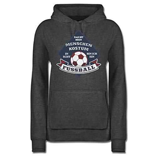 Kostüm Mama Fußball - Shirtracer Karneval & Fasching - Das ist Mein Menschen Kostüm in echt Bin ich EIN Fussball - L - Anthrazit meliert - JH001F - Damen Hoodie