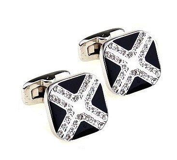 Boutons de manchette White Stones in Black Cross