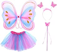 Ancdream Girls Fairy Costume Set, Kids Fairy Princess Costume - Butterfly Wings Tutu Magic Wand Headband, Colo