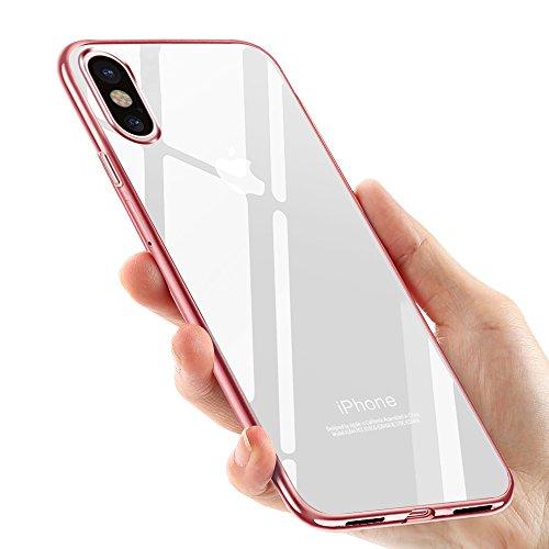 tronisky iPhone XS Hülle, iPhone X Handyhülle, Crystal iPhone XS/iPhone X Silikon Hülle TPU Bumper Case Ultra Dünn TPU Cover Kratzfest Stoßfest Weich Schutzhülle für iPhone XS/X, Rose Gold