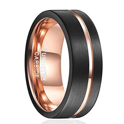 Ring Herren/Damen schwarz-rosegold 8mm breit, Nuncad Wolfram Ring Fashion, perfekt für Hochzeit, Partnerschaft, Freundschaft, Größe 63