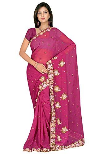 Dark magenta resham woven embroidered georgette silk sarees