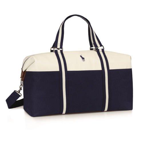 Ralph Lauren blau-weiße Polo-Sporttasche, geräumige Designer-Tasche, Reisetasche, Wochenend-Tasche