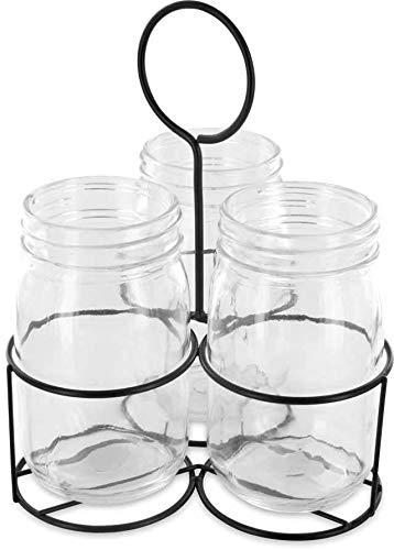 Range couverts 3 pots en verre et panier métal