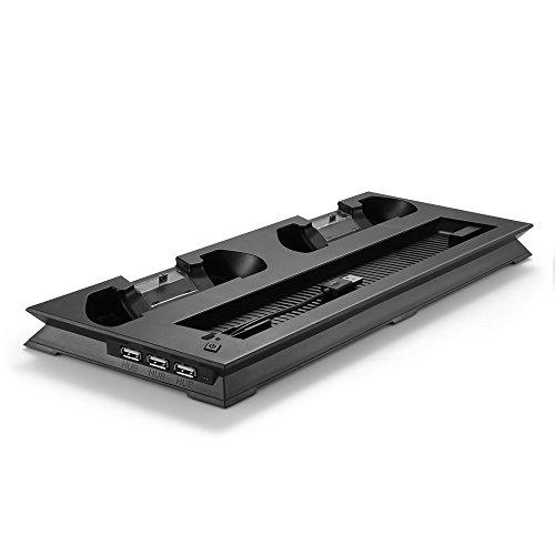 TNP PS4 Slim Edition Ständer + Controller Ladegerät + Lüfter + USB Hub - Vertikale Dock Ladestation für DualShock Controller, externer Kühler, 3 USB Port Hub 4 in 1 Zubehör [Playstation 4]
