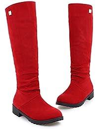 THk&M Botas femeninas otoño e invierno 3cm de alta tubo pierna delgada cara de felpa de cabeza redonda de ocio