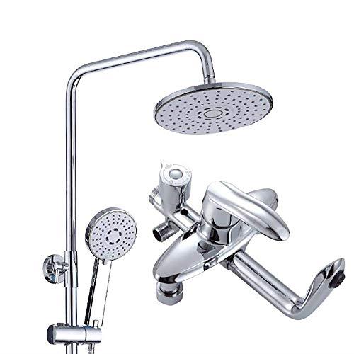 Modernes 3-Funktions-Duschset aus galvanisiertem Kupfer, rundes 8-Zoll-Regenspray + Handbrause + Mischbatterie (Led 4 Fuß-rohr)