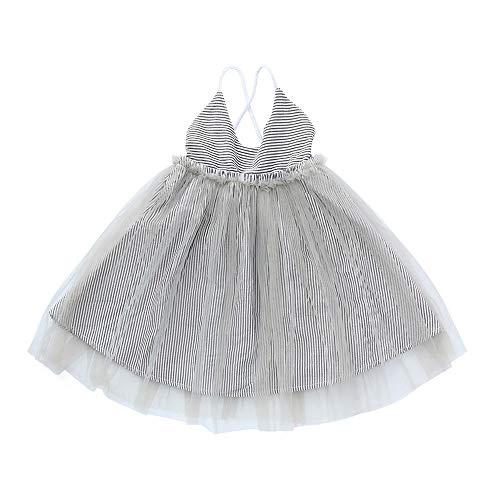 (JUTOO Kleinkind Baby Mädchen gestreift ärmelloses Slingkleid Pailletten Kleider Riemen Sommerkleid (Grau120))