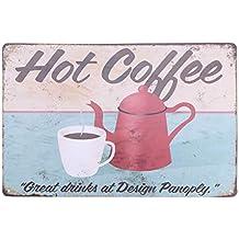 Vosarea Placa Metálica Vintage con Letra de Coffee Decoración de Pared para Cafeteria Café ...