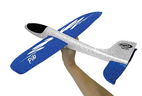 Jamara 460305 460305-Pilo Schaumwurfgleiter EPP weiß/blau-48cm Spannweite, Super leicht, Fast unzerstörbar, Looping, Gleitflug