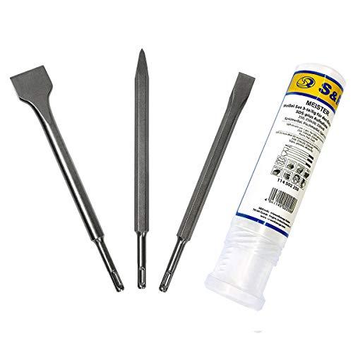 S&R Meißel Set SDS-plus 3-teilig: Flachmeißel 14x250x20, Spatmeißel 14x250x40, Spitzmeißel 14x250mm, universell einsetzbar. Sehr lange Lebensdaue.