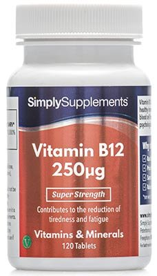 Vitamine B12 250mcg 120 Comprimés, Humeur, Stimule les Niveaux d'Énergie & les Fonctions du Cerveau, Végétarien, Fabriqué au Royaume-Uni